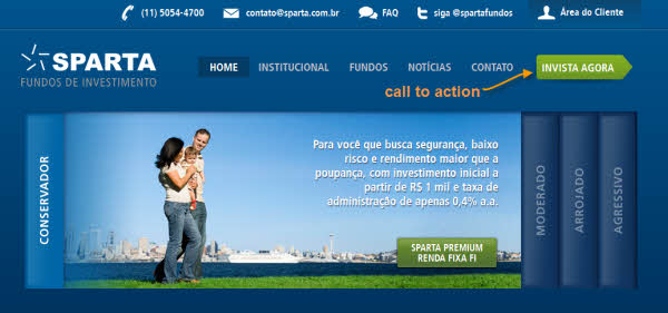 Call to action (CTA) no website da Sparta Fundos de Investimento